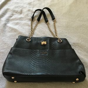 Black Guess Purse with Gold Detailing
